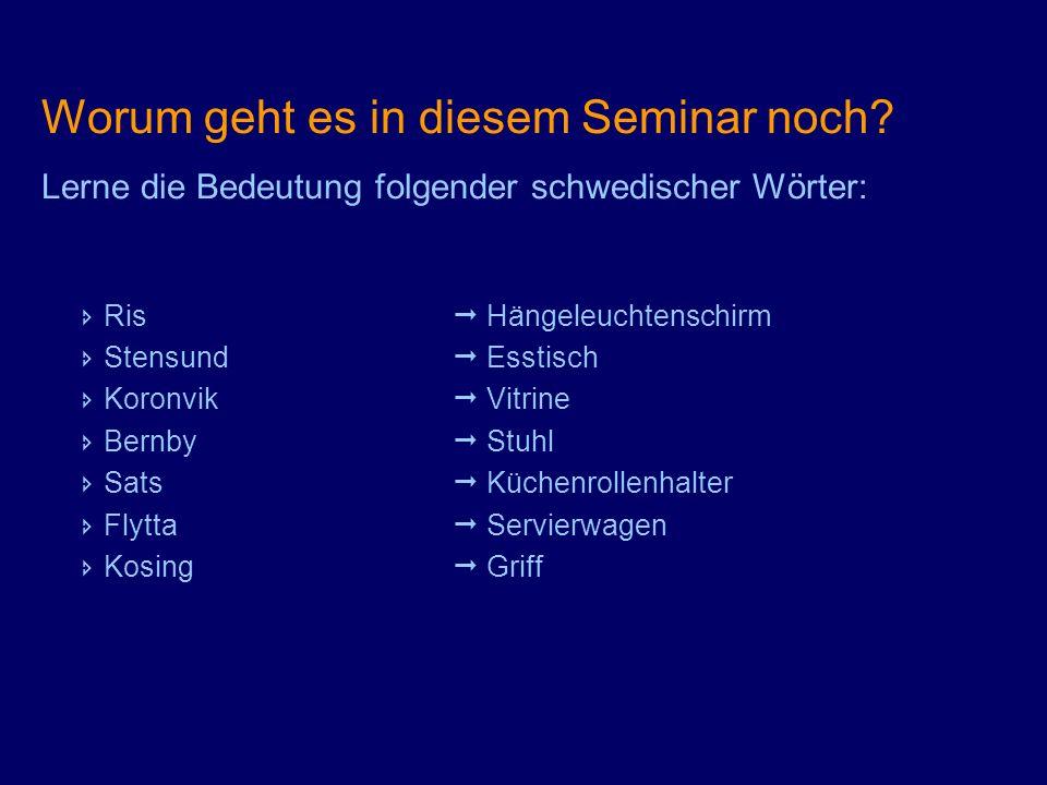 Worum geht es in diesem Seminar noch? Lerne die Bedeutung folgender schwedischer Wörter: Ris Hängeleuchtenschirm Stensund Esstisch Koronvik Vitrine Be