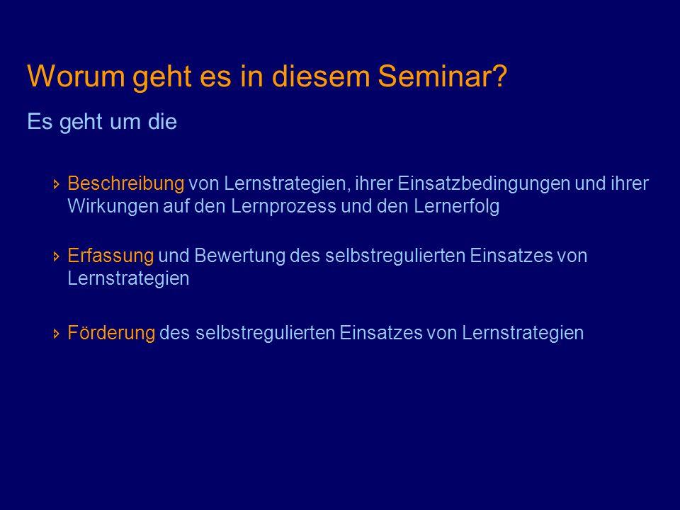 Worum geht es in diesem Seminar? Es geht um die Beschreibung von Lernstrategien, ihrer Einsatzbedingungen und ihrer Wirkungen auf den Lernprozess und