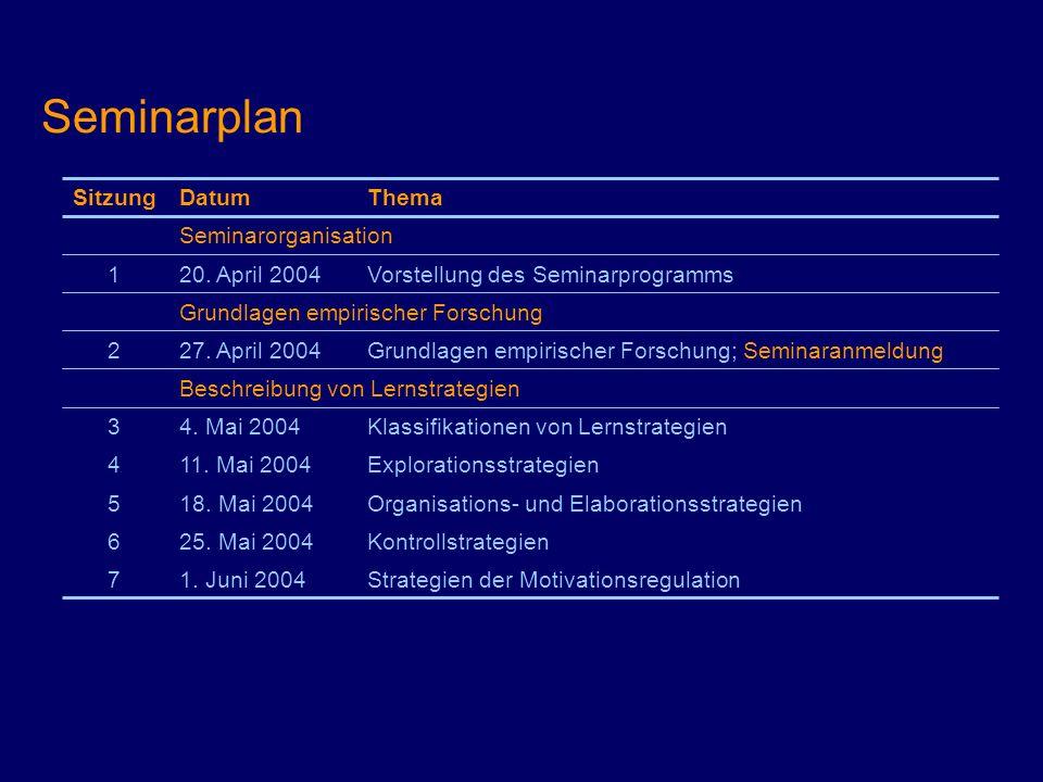 Seminarplan Strategien der Motivationsregulation1. Juni 20047 Kontrollstrategien25. Mai 20046 Organisations- und Elaborationsstrategien18. Mai 20045 E