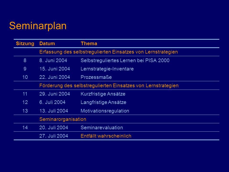 Seminarplan Seminarorganisation Motivationsregulation13. Juli 200413 Langfristige Ansätze6. Juli 200412 Kurzfristige Ansätze29. Juni 200411 Förderung