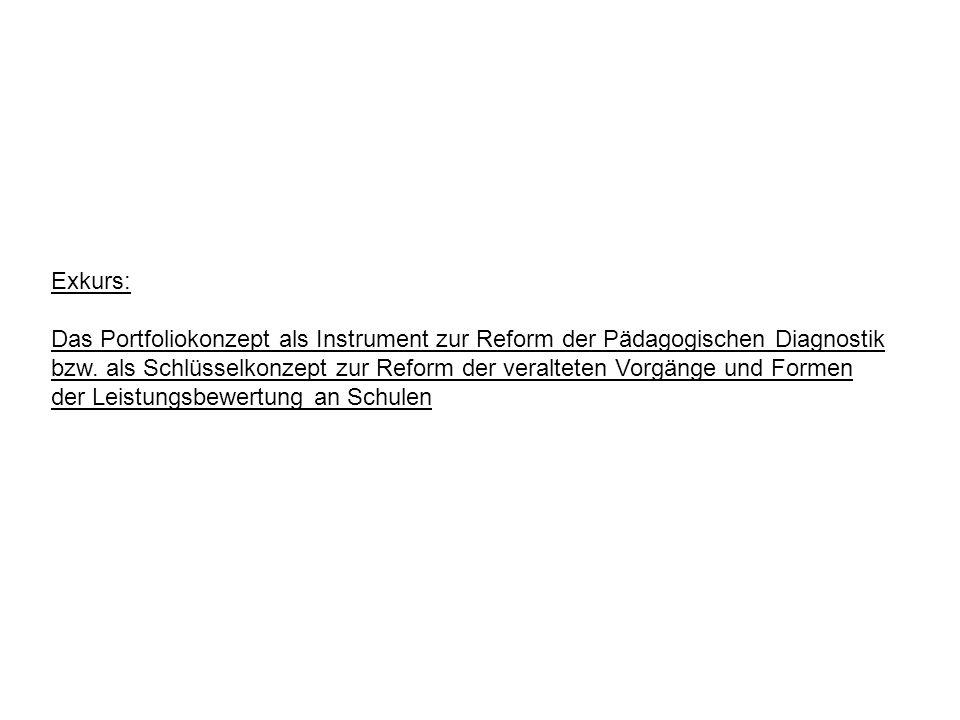Exkurs: Das Portfoliokonzept als Instrument zur Reform der Pädagogischen Diagnostik bzw. als Schlüsselkonzept zur Reform der veralteten Vorgänge und F