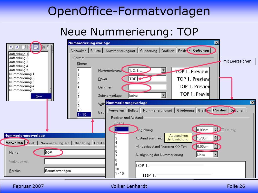 OpenOffice-Formatvorlagen Februar 2007Volker LenhardtFolie 26 Neue Nummerierung: TOP mit Leerzeichen = Abstand von der Einrückung