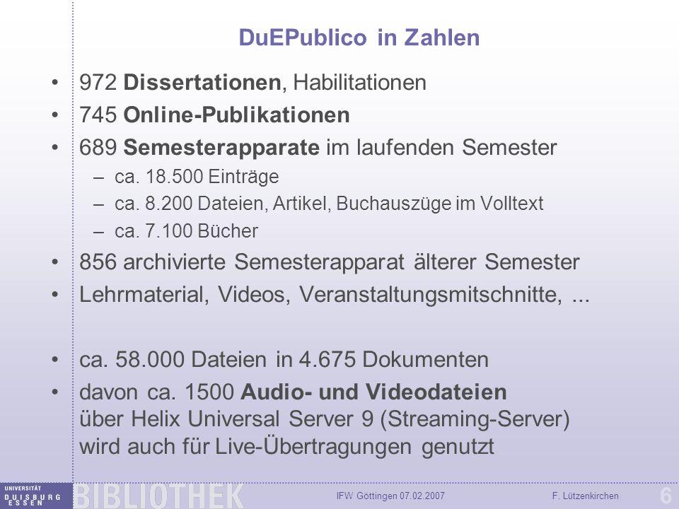 IFW Göttingen 07.02.2007F. Lützenkirchen 37 Moodle-Kurs im Dokumentenserver archivieren
