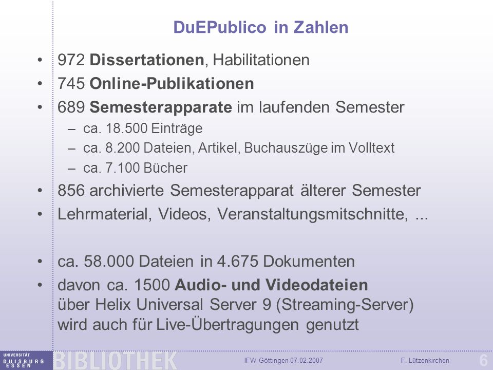 IFW Göttingen 07.02.2007F. Lützenkirchen 17 Video-Präsentation mit Folien (SMIL)