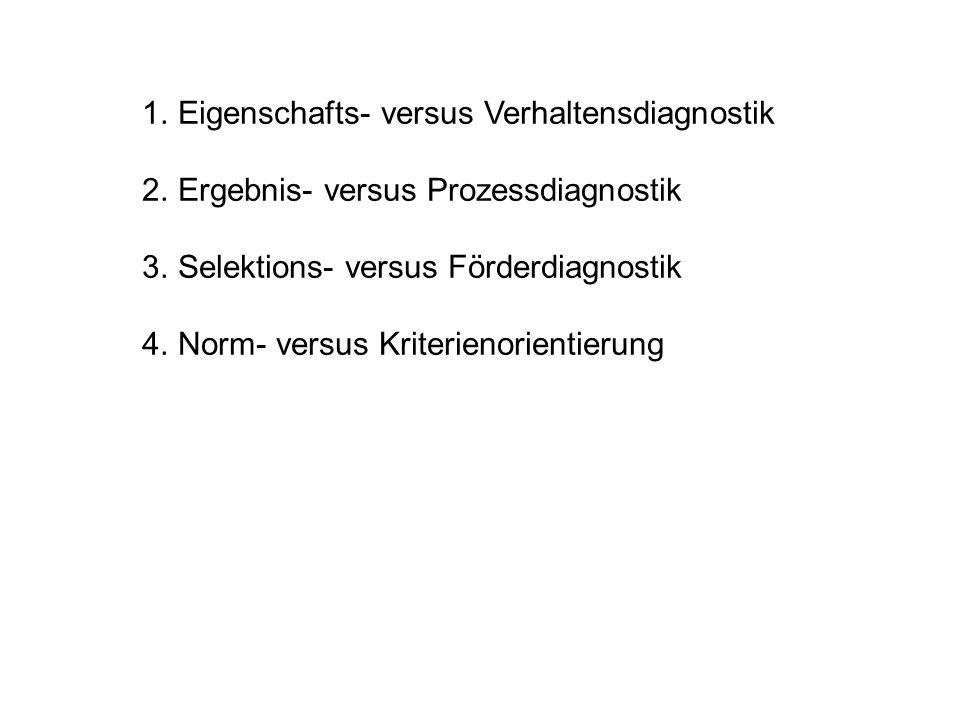 1.Eigenschafts- versus Verhaltensdiagnostik 2.Ergebnis- versus Prozessdiagnostik 3.Selektions- versus Förderdiagnostik 4.Norm- versus Kriterienorientierung