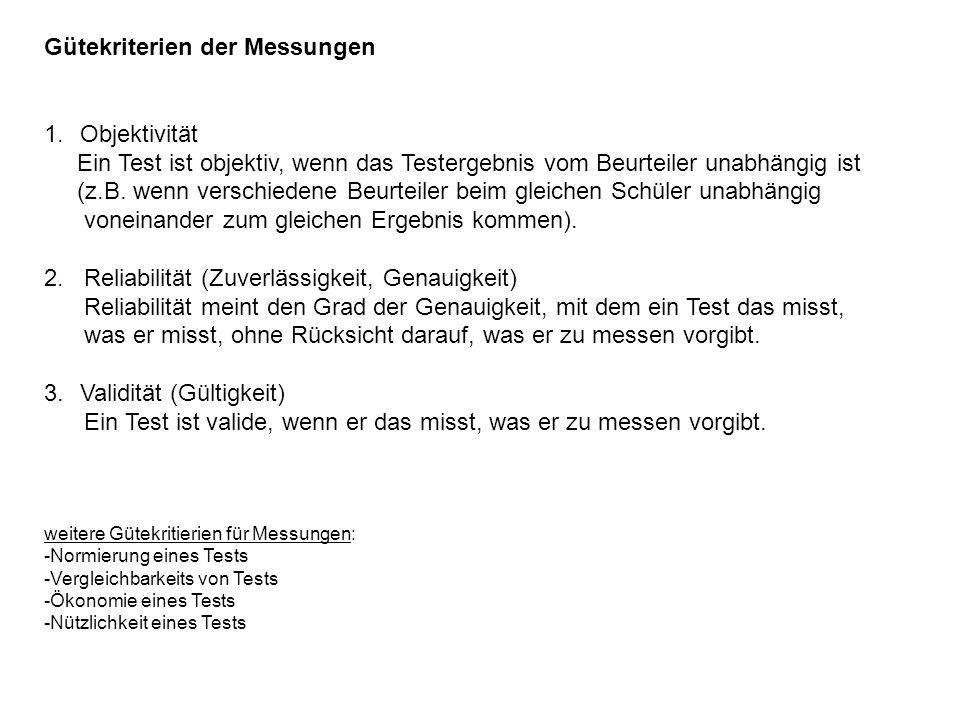 Gütekriterien der Messungen 1.Objektivität Ein Test ist objektiv, wenn das Testergebnis vom Beurteiler unabhängig ist (z.B.