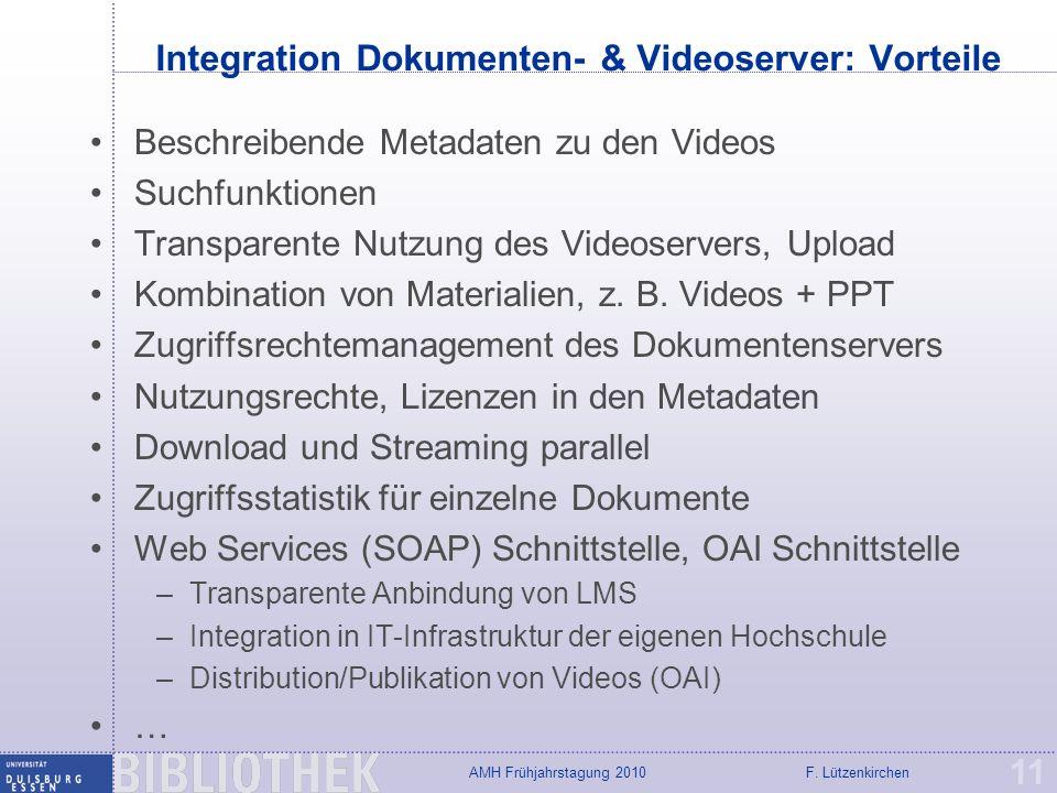 F. LützenkirchenAMH Frühjahrstagung 2010 Integration Dokumenten- & Videoserver: Vorteile Beschreibende Metadaten zu den Videos Suchfunktionen Transpar