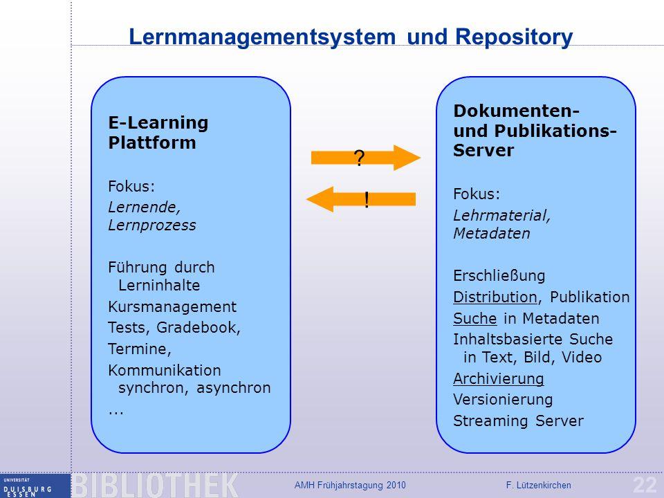 F. LützenkirchenAMH Frühjahrstagung 2010 Lernmanagementsystem und Repository 22 E-Learning Plattform Fokus: Lernende, Lernprozess Führung durch Lernin