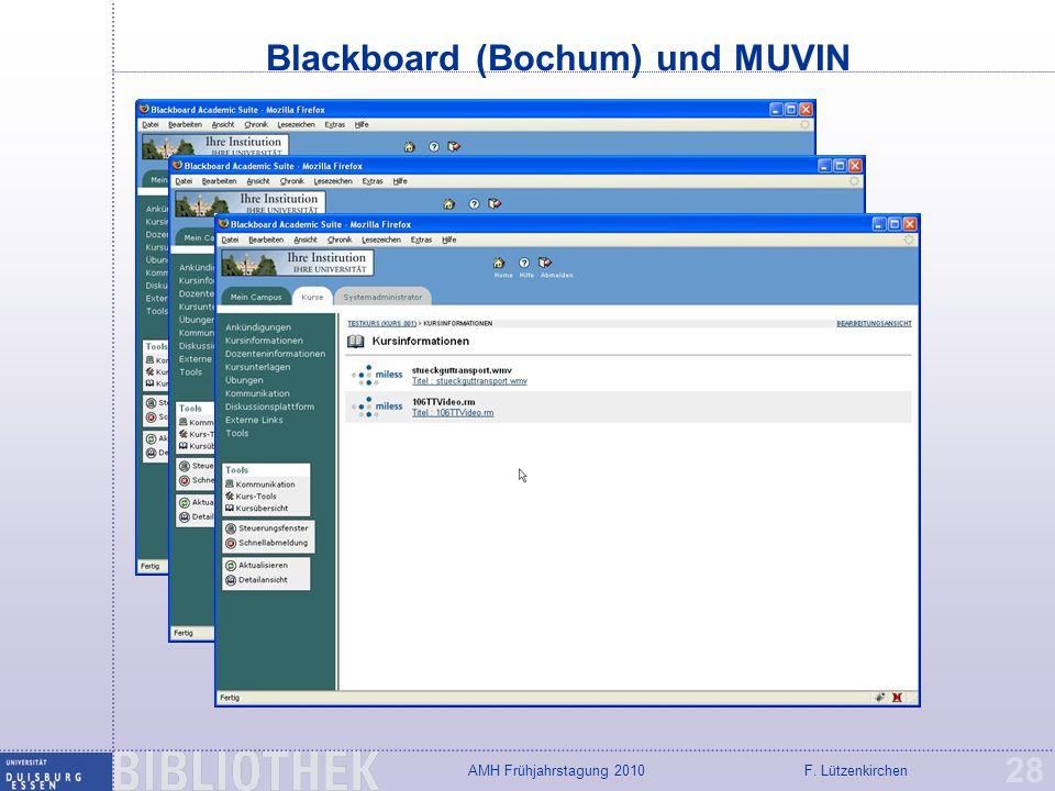 F. LützenkirchenAMH Frühjahrstagung 2010 Blackboard (Bochum) und MUVIN 28