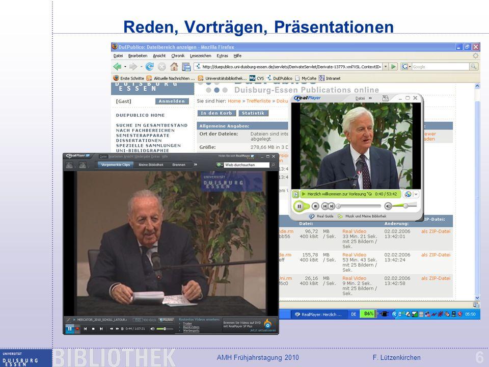 F. LützenkirchenAMH Frühjahrstagung 2010 EWS (Dortmund) und MUVIN 27