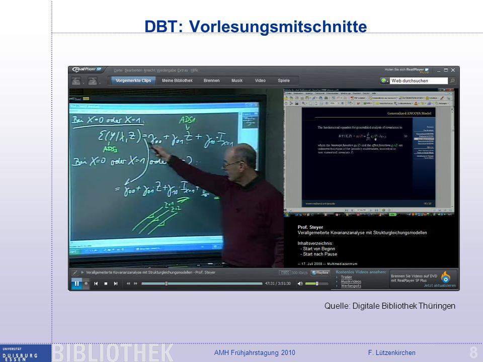 F. LützenkirchenAMH Frühjahrstagung 2010 DBT: Vorlesungsmitschnitte 8 Quelle: Digitale Bibliothek Thüringen