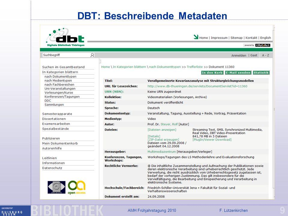 F. LützenkirchenAMH Frühjahrstagung 2010 DuECast: Podcast-Portal 20