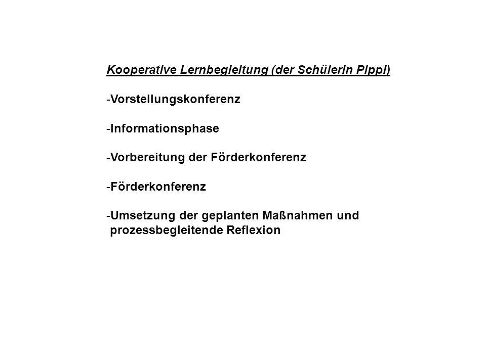 Kooperative Lernbegleitung (der Schülerin Pippi) -Vorstellungskonferenz -Informationsphase -Vorbereitung der Förderkonferenz -Förderkonferenz -Umsetzu