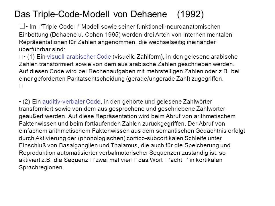 • Im'Triple Code' Modell sowie seiner funktionell-neuroanatomischen Einbettung (Dehaene u. Cohen 1995) werden drei Arten von internen mentalen Repräse