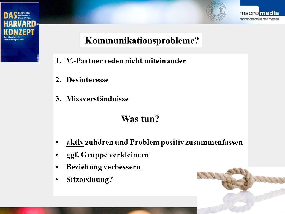 Kommunikationsprobleme? 1.V.-Partner reden nicht miteinander 2.Desinteresse 3.Missverständnisse Was tun? aktiv zuhören und Problem positiv zusammenfas