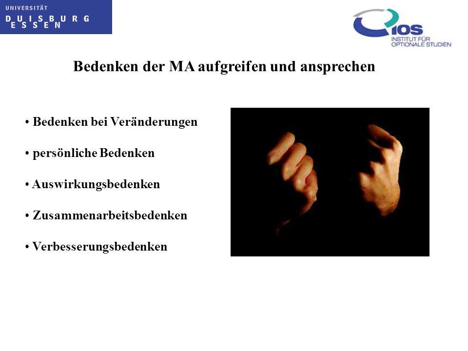 Bedenken der MA aufgreifen und ansprechen Bedenken bei Veränderungen persönliche Bedenken Auswirkungsbedenken Zusammenarbeitsbedenken Verbesserungsbed