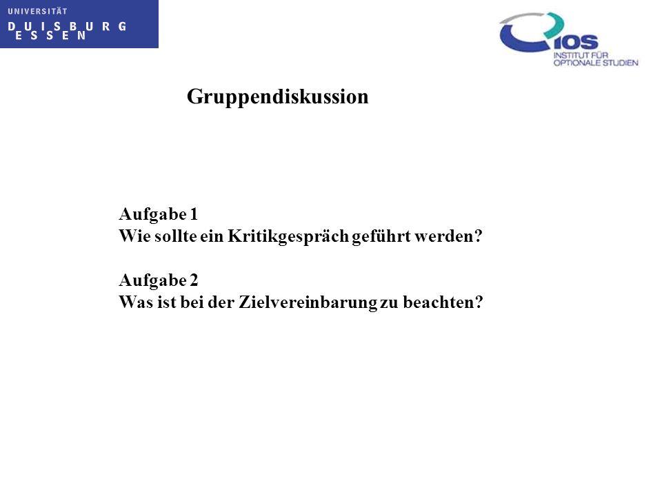 Gruppendiskussion Aufgabe 1 Wie sollte ein Kritikgespräch geführt werden? Aufgabe 2 Was ist bei der Zielvereinbarung zu beachten?