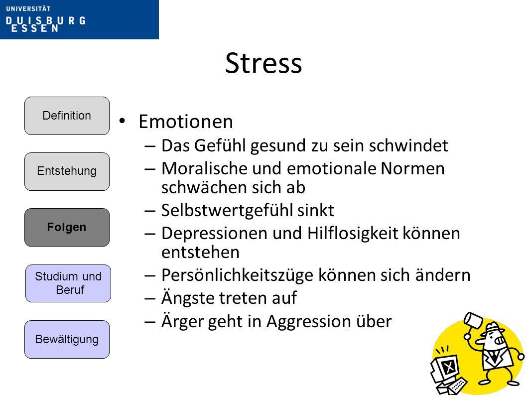 Stress Emotionen – Das Gefühl gesund zu sein schwindet – Moralische und emotionale Normen schwächen sich ab – Selbstwertgefühl sinkt – Depressionen und Hilflosigkeit können entstehen – Persönlichkeitszüge können sich ändern – Ängste treten auf – Ärger geht in Aggression über Entstehung Folgen Bewältigung Definition Studium und Beruf