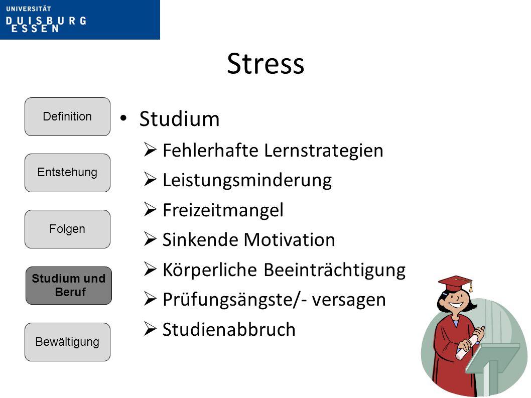 Stress Studium Fehlerhafte Lernstrategien Leistungsminderung Freizeitmangel Sinkende Motivation Körperliche Beeinträchtigung Prüfungsängste/- versagen Studienabbruch Entstehung Folgen Bewältigung Definition Studium und Beruf