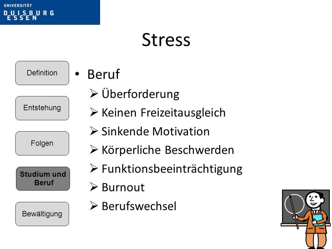 Stress Beruf Überforderung Keinen Freizeitausgleich Sinkende Motivation Körperliche Beschwerden Funktionsbeeinträchtigung Burnout Berufswechsel Entstehung Folgen Bewältigung Definition Studium und Beruf