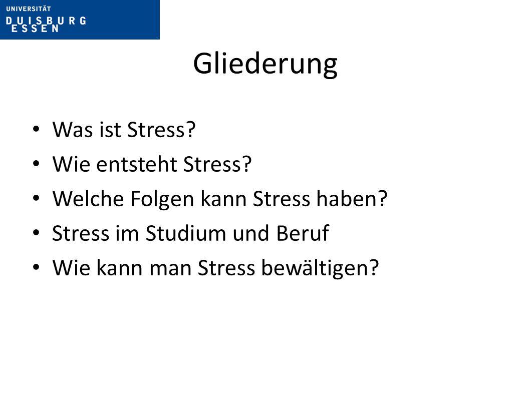 Gliederung Was ist Stress.Wie entsteht Stress. Welche Folgen kann Stress haben.