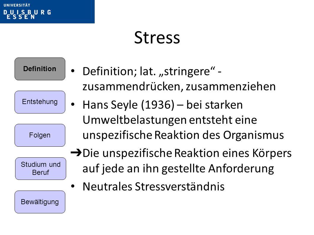 Stress Kurzfristige Wirkung: akute Folgen von Stressreaktionen mildern; – die Ursache nicht veränderbar – akute Stresssituation – Erregung – Vermeidung von Aufschaukelungsprozess.