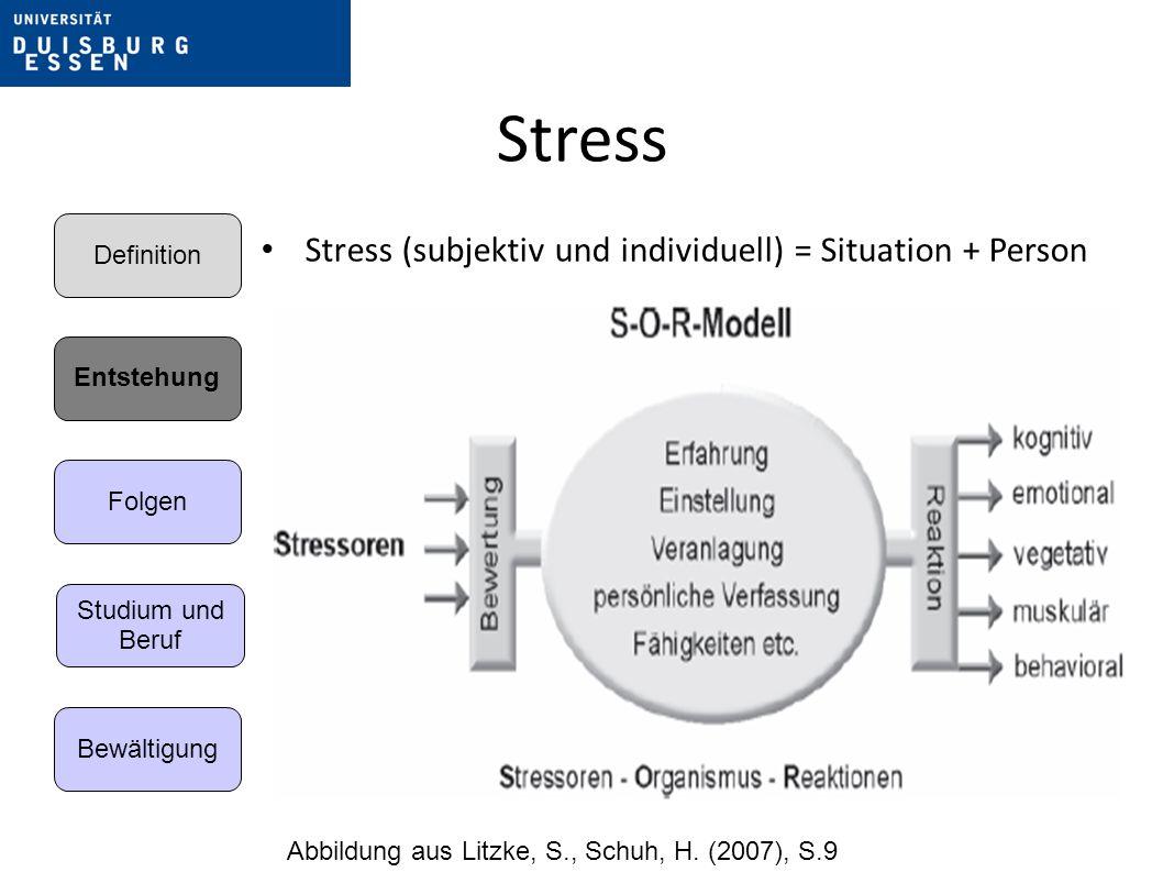 Stress Stress (subjektiv und individuell) = Situation + Person Abbildung aus Litzke, S., Schuh, H.