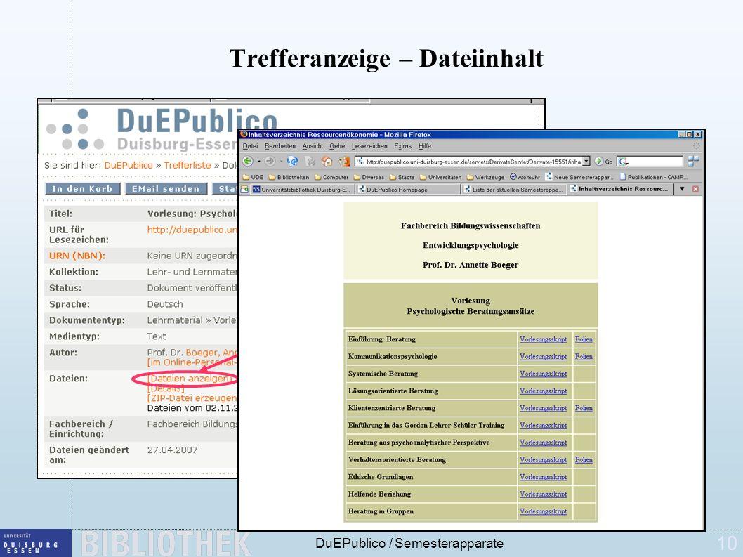10 DuEPublico / Semesterapparate Trefferanzeige – Dateiinhalt Klick