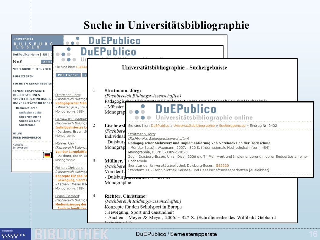 16 DuEPublico / Semesterapparate Suche in Universitätsbibliographie