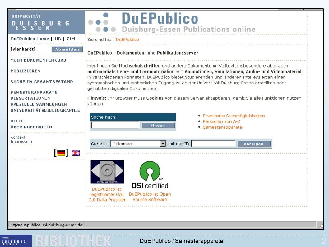 2 DuEPublico / Semesterapparate