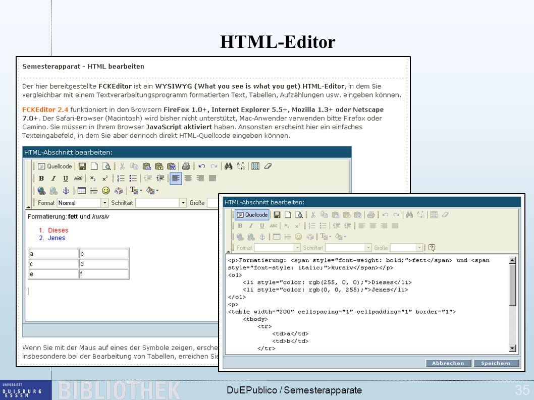 35 DuEPublico / Semesterapparate HTML-Editor