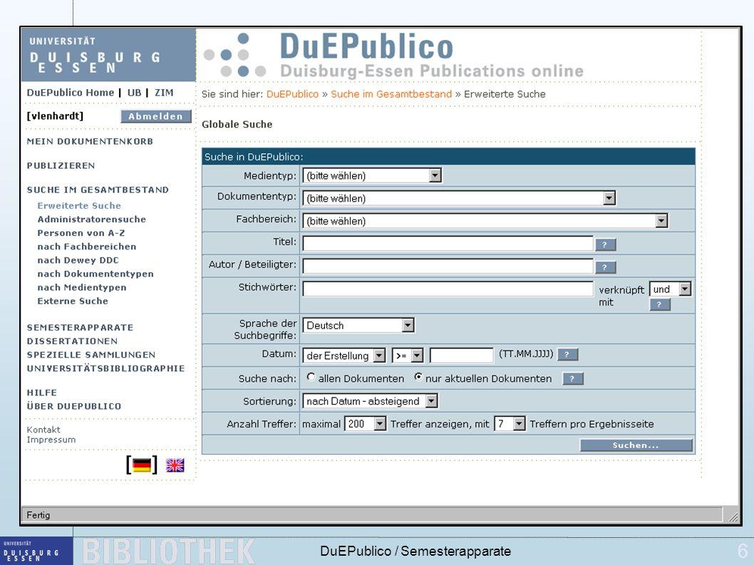 6 DuEPublico / Semesterapparate