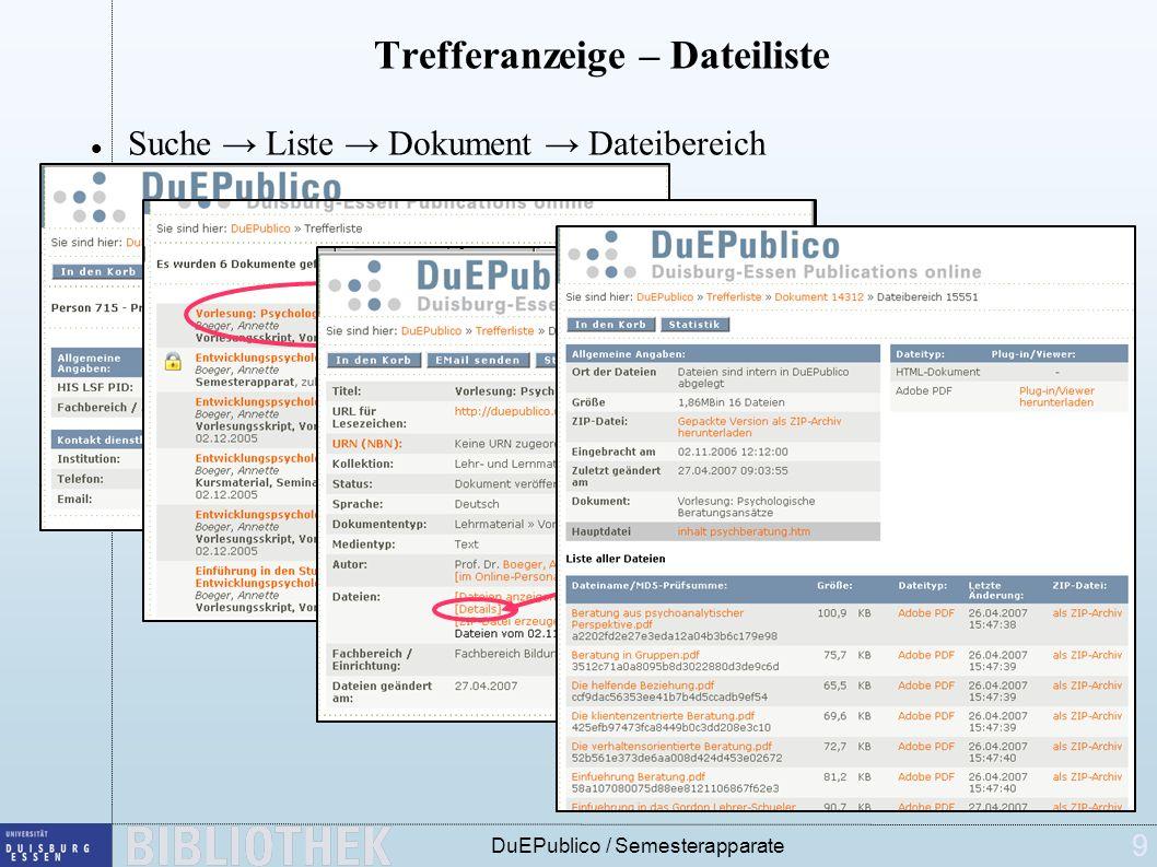 9 Trefferanzeige – Dateiliste Suche Liste Dokument Dateibereich Klick