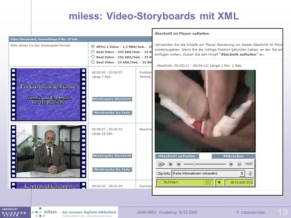 AMH-NRW Workshop F. Lützenkirchen 19 miless: Video-Storyboards mit XML