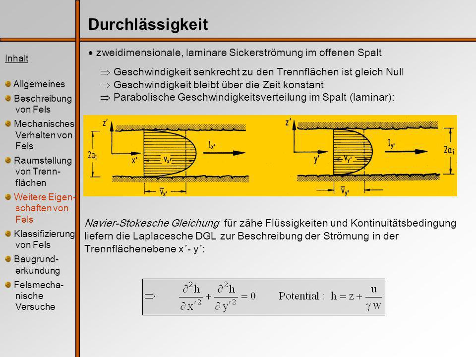 zweidimensionale, laminare Sickerströmung im offenen Spalt Geschwindigkeit senkrecht zu den Trennflächen ist gleich Null Geschwindigkeit bleibt über die Zeit konstant Parabolische Geschwindigkeitsverteilung im Spalt (laminar): Inhalt Allgemeines Beschreibung von Fels Mechanisches Verhalten von Fels Raumstellung von Trenn- flächen Weitere Eigen- schaften von Fels Klassifizierung von Fels Baugrund- erkundung Felsmecha- nische Versuche Durchlässigkeit Navier-Stokesche Gleichung für zähe Flüssigkeiten und Kontinuitätsbedingung liefern die Laplacesche DGL zur Beschreibung der Strömung in der Trennflächenebene x´- y´: