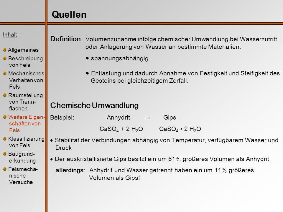 Inhalt Allgemeines Beschreibung von Fels Mechanisches Verhalten von Fels Raumstellung von Trenn- flächen Weitere Eigen- schaften von Fels Klassifizierung von Fels Baugrund- erkundung Felsmecha- nische Versuche Klassifizierung nach der Standfestigkeit ParameterWertebereich Ge- birgs- was- ser Zufluß auf 10 m Tunnellänge kein Zulauf oder 0 oder vollständig trocken < 25 l/min oder 0,0-0,2 oder feucht 25-125 l/min oder 0,0-0,5 oder Wasser unter niedrigem Druck >125 l/min oder >0,5 oder schwierige Gebirgswas- serprobleme Kluftwasserdruck größte Hauptspannung Allgemeine Verhältnisse l5l5 10740 Streich- und Fallrichtung der Klüfte sehr günstig günstig mäßig günstig ungünstig sehr ungünstig l6l6 Tunnel 0-2-5-10-12 Gründung0-2-7-15-25 Böschung0-5-25-50-60