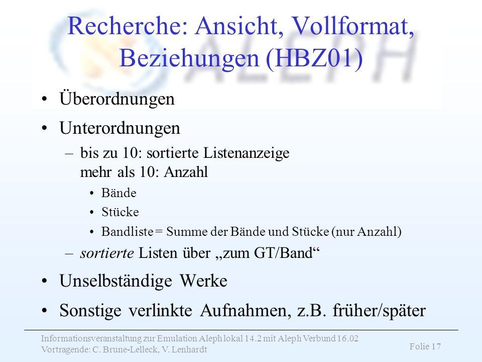 Informationsveranstaltung zur Emulation Aleph lokal 14.2 mit Aleph Verbund 16.02 Vortragende: C. Brune-Lelleck, V. Lenhardt Folie 17 Recherche: Ansich