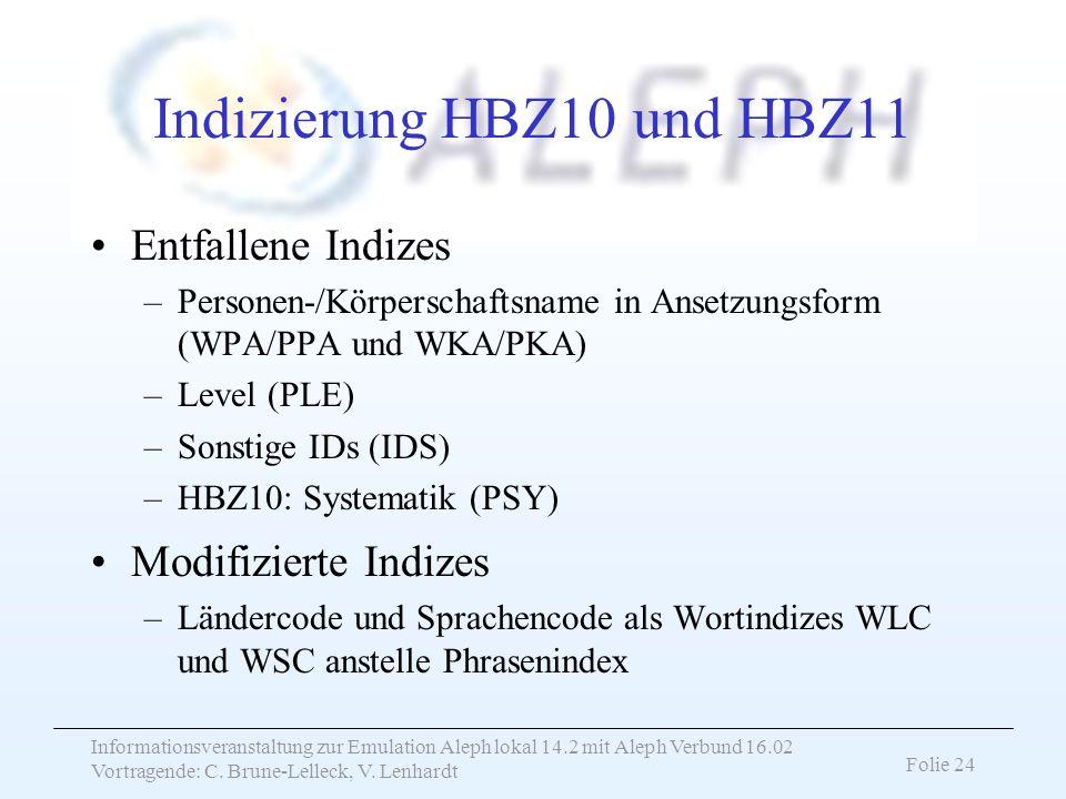 Informationsveranstaltung zur Emulation Aleph lokal 14.2 mit Aleph Verbund 16.02 Vortragende: C. Brune-Lelleck, V. Lenhardt Folie 24 Indizierung HBZ10