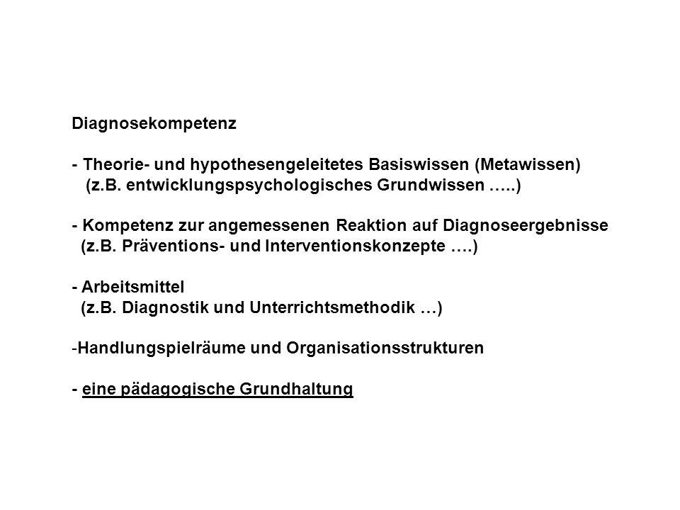 Diagnosekompetenz - Theorie- und hypothesengeleitetes Basiswissen (Metawissen) (z.B. entwicklungspsychologisches Grundwissen …..) - Kompetenz zur ange