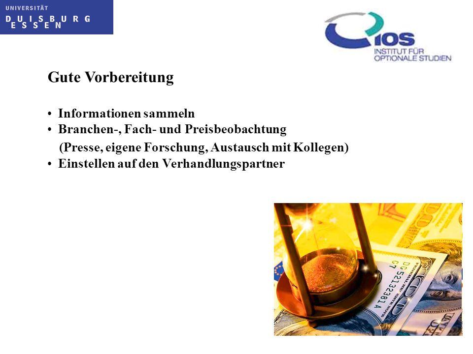 Gute Vorbereitung Informationen sammeln Branchen-, Fach- und Preisbeobachtung (Presse, eigene Forschung, Austausch mit Kollegen) Einstellen auf den Ve