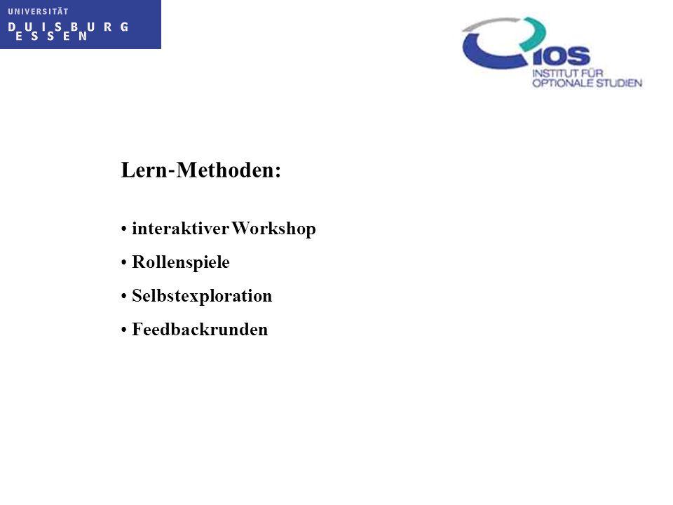 Lern Methoden: interaktiver Workshop Rollenspiele Selbstexploration Feedbackrunden