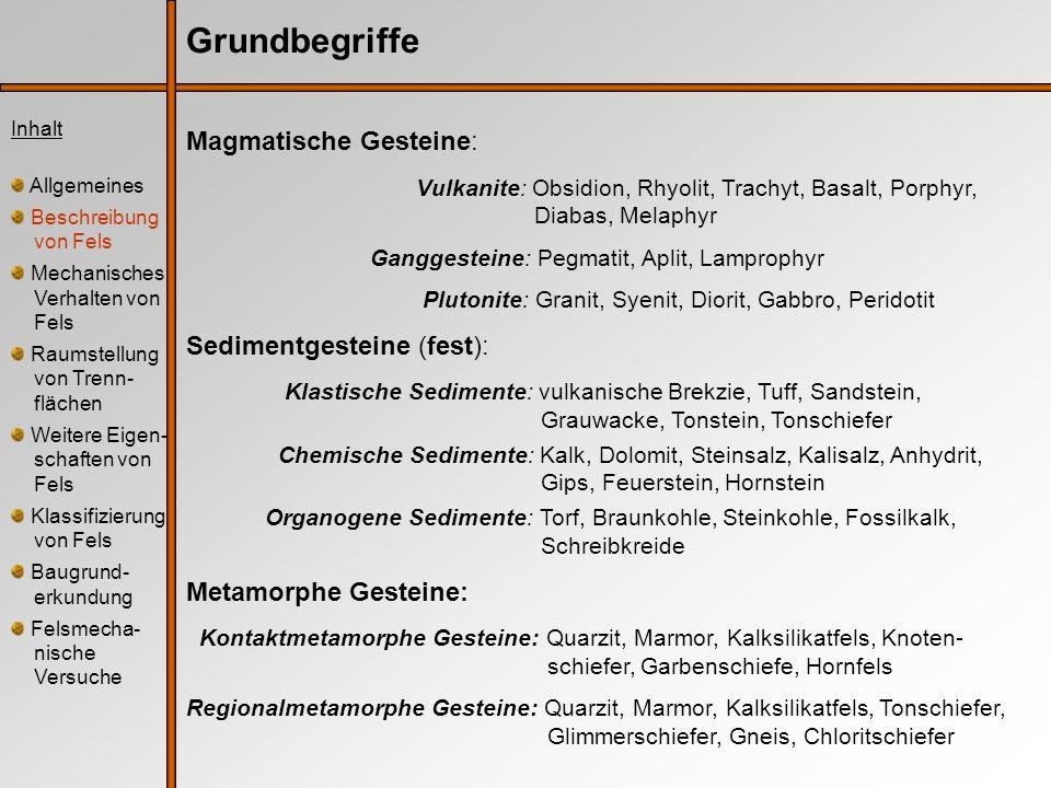Grundbegriffe Magmatische Gesteine: Vulkanite: Obsidion, Rhyolit, Trachyt, Basalt, Porphyr, Diabas, Melaphyr Ganggesteine: Pegmatit, Aplit, Lamprophyr