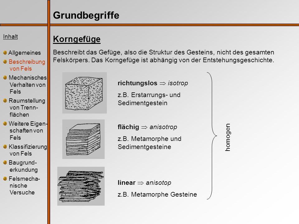 Grundbegriffe Korngefüge Beschreibt das Gefüge, also die Struktur des Gesteins, nicht des gesamten Felskörpers. Das Korngefüge ist abhängig von der En