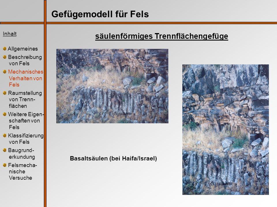 Gefügemodell für Fels säulenförmiges Trennflächengefüge Inhalt Allgemeines Beschreibung von Fels Mechanisches Verhalten von Fels Raumstellung von Tren