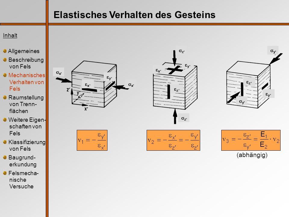 Elastisches Verhalten des Gesteins Inhalt Allgemeines Beschreibung von Fels Mechanisches Verhalten von Fels Raumstellung von Trenn- flächen Weitere Ei
