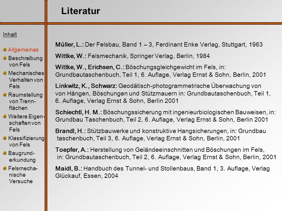 Literatur Müller, L.: Der Felsbau, Band 1 – 3, Ferdinant Enke Verlag, Stuttgart, 1963 Wittke, W.: Felsmechanik, Springer Verlag, Berlin, 1984 Wittke,