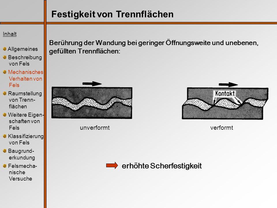 Berührung der Wandung bei geringer Öffnungsweite und unebenen, gefüllten Trennflächen: erhöhte Scherfestigkeit Inhalt Allgemeines Beschreibung von Fel
