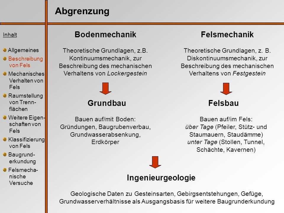 Abgrenzung Felsmechanik Theoretische Grundlagen, z. B. Diskontinuumsmechanik, zur Beschreibung des mechanischen Verhaltens von Festgestein Felsbau Bau