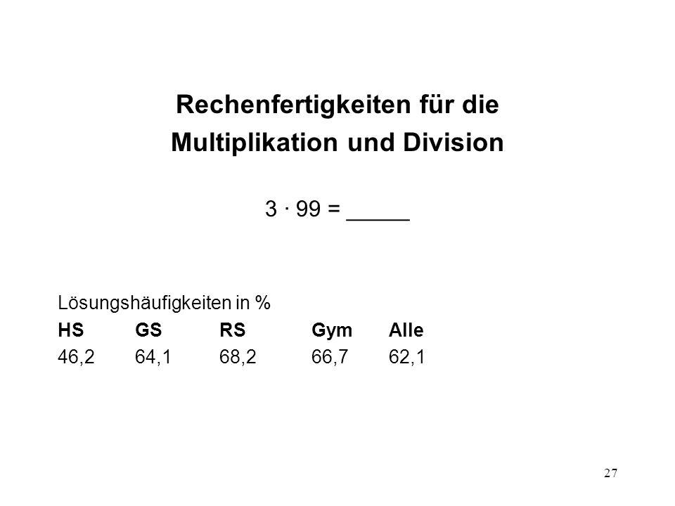 27 Rechenfertigkeiten für die Multiplikation und Division 3 · 99 = _____ Lösungshäufigkeiten in % HSGSRSGymAlle 46,264,168,266,762,1