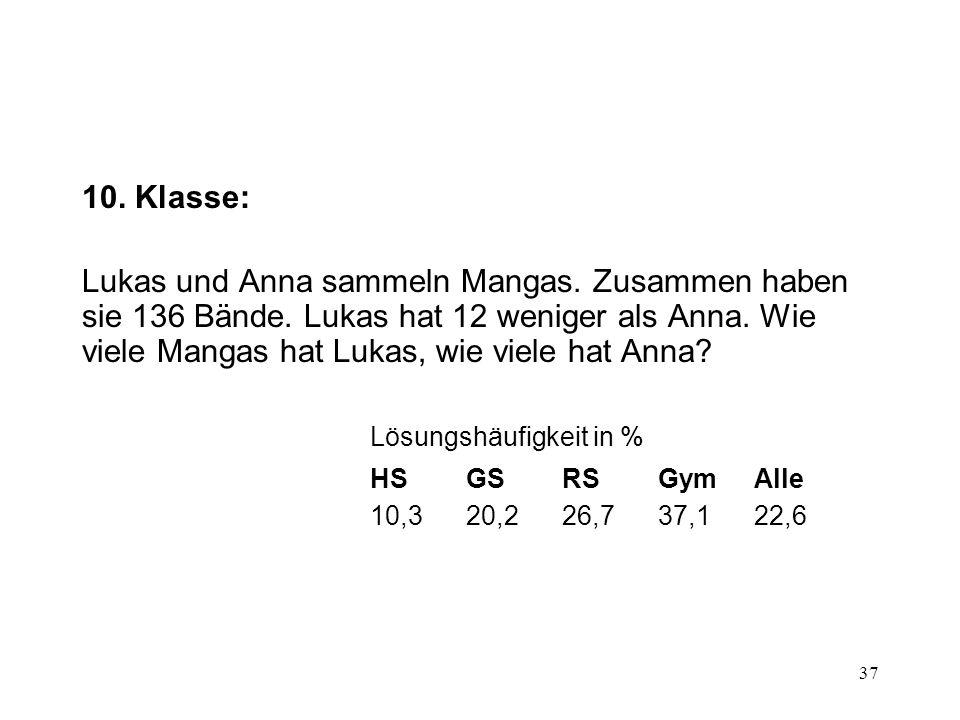 37 10. Klasse: Lukas und Anna sammeln Mangas. Zusammen haben sie 136 Bände. Lukas hat 12 weniger als Anna. Wie viele Mangas hat Lukas, wie viele hat A